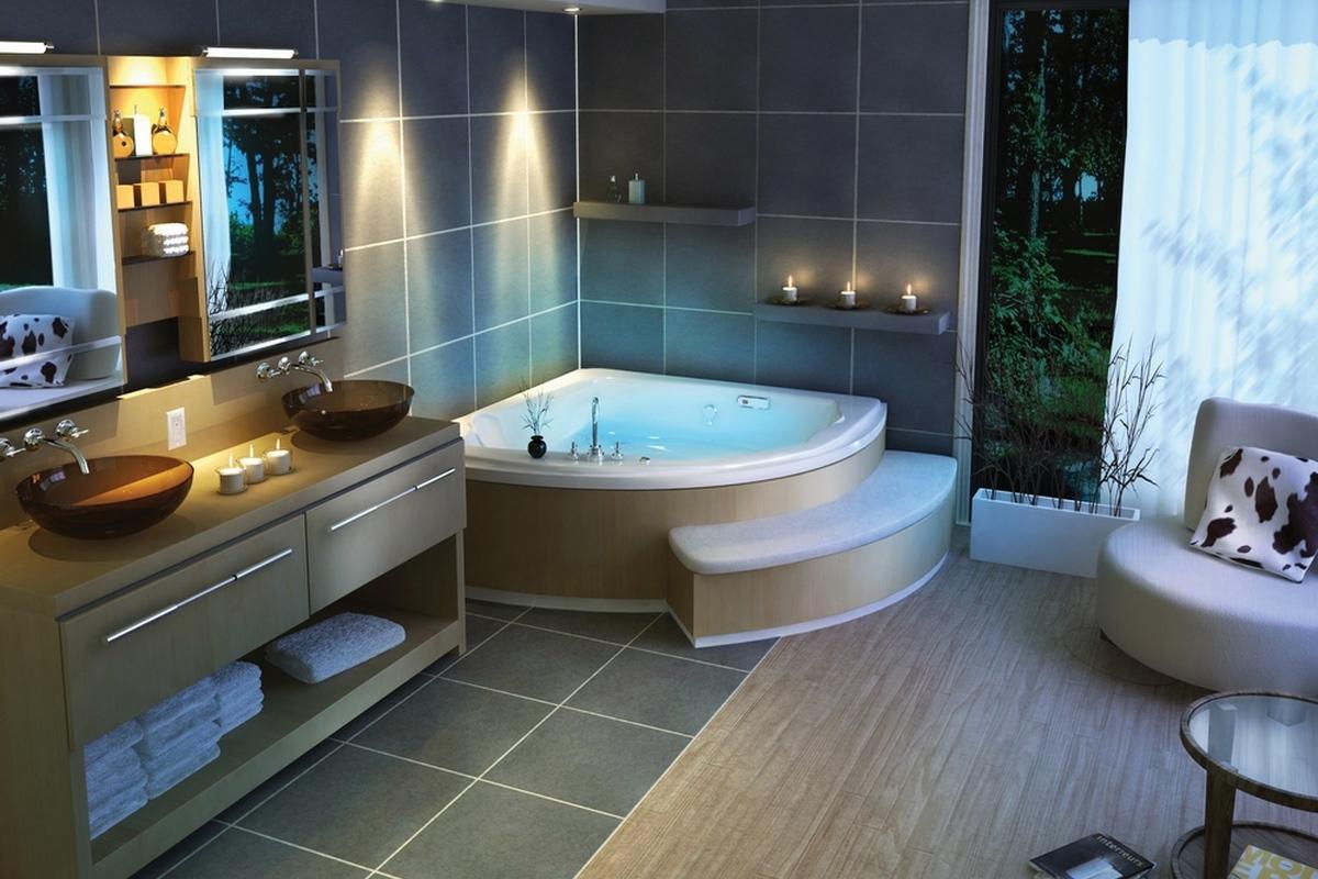 Современная отделка ванной комнаты фото